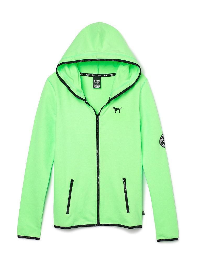 Victoria's Secret PINK Full Zip Fleece Hoodie Sweatshirt Citrus Lime  X-SMALL