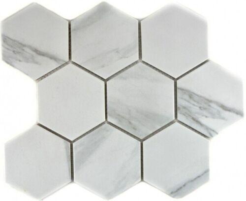 Mosaik Fliese Keramik weiß Hexagon Carrara Wandfliesen Badfliese MOS11F-0102/_f
