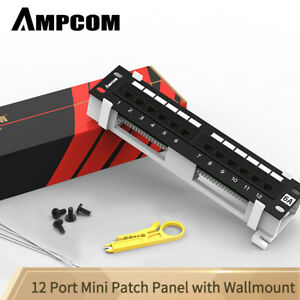AMPCOM-12-Port-CAT6-UTP-Mini-Patch-Panel-with-Wallmount-Bracket-Included-Black