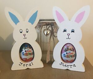 Personalised kinder egg holder easter gift wooden bunny boy girl image is loading personalised kinder egg holder easter gift wooden bunny negle Image collections