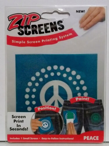 Zip Screens Printing System Peace Free Shipping  1 small Screen 3 x 3 Inches
