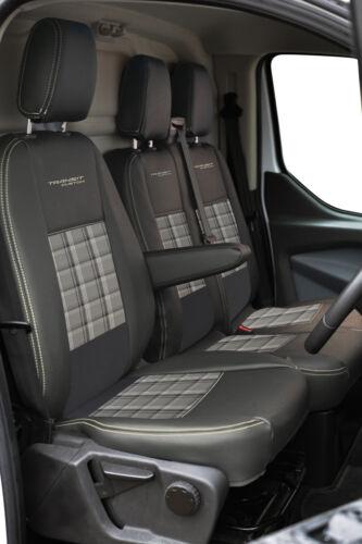 Ford Transit Custom delantera Inka Tailored Fundas De Asiento Cuero Sintético Vinilo Negro OEM
