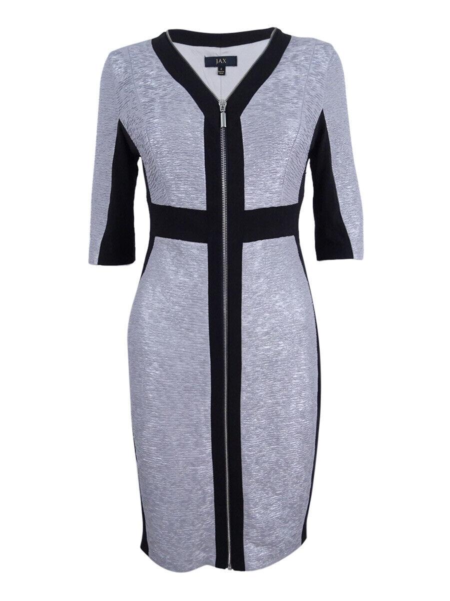 Jax Woherren Heritage Metallic Knit Zip Front Dress (2, Nickle schwarz)