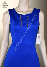 IVANKA TRUMP Women Dress Size 10 BLUE Knee GOLDEN ACCT Sleeveless Dressy LBCUSA