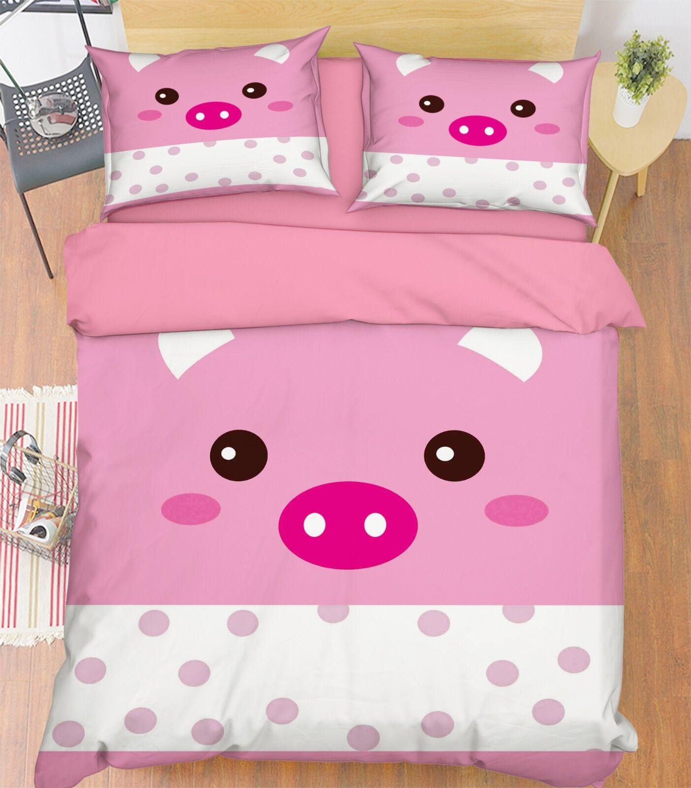3D Pig Pattern 3 Bed Pillowcases Quilt Duvet Cover Set Single Queen King Größe AU