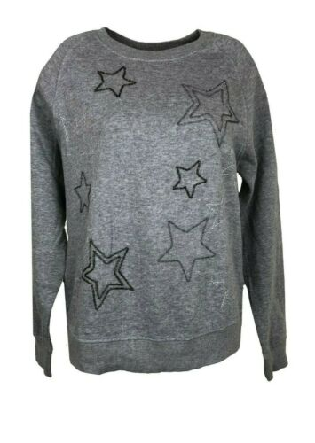 P66.Grey Ex Marks and Spencer Cotton Grey Jumper Star Design Beading Size 12-18