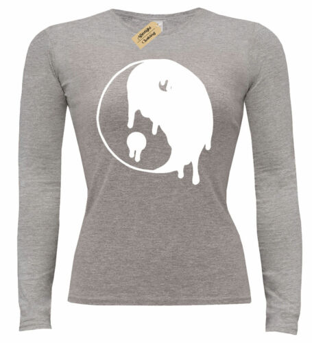 Ladies Dripping Yin Yang Chinese Graphic T-Shirt Peace Hippie womens top gift