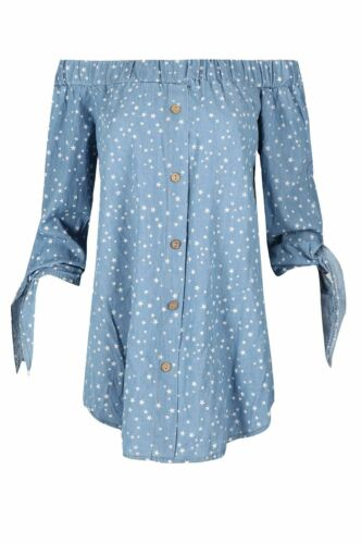 Womens Denim Look Stars Ruched Tie Sleeve Off Shoulder Bardot Button Shirt Dress