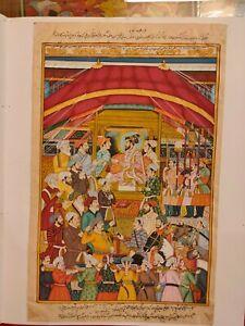 Hand-Painted-Mughal-Maharajah-Court-Scene-Miniature-Painting-India-Paper-Art
