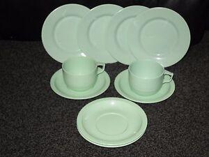 Image is loading ROSTI-DENMARK-VINTAGE-MELAMINE-CUPS-SAUCERS-PLATES-GREEN- & ROSTI DENMARK VINTAGE MELAMINE CUPS SAUCERS PLATES GREEN ROPAL ...