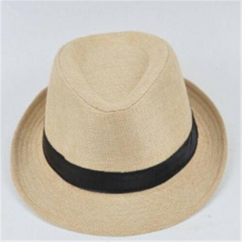 Fashion Mens Ladies Straw Trilby Fedora Hat Summer Sun Panama Cap Beach Unisex L