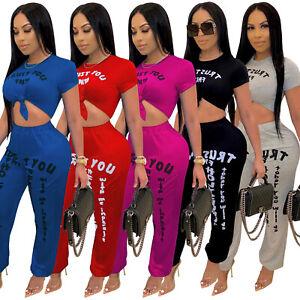 New Stylish Women/'s Short Sleeves O Neck Letter Print Casual Short Jumpsuit 2pcs