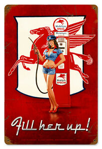 FILL-HER-UP-Garage-Pinup-Greg-Hildebrandt-GIANT-Vintage-Metal-Sign-amp-FREE-PRINT