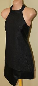 Womens-Black-Quilted-Leather-Shift-Dress-BNWT-Stylestalker-Size-XS