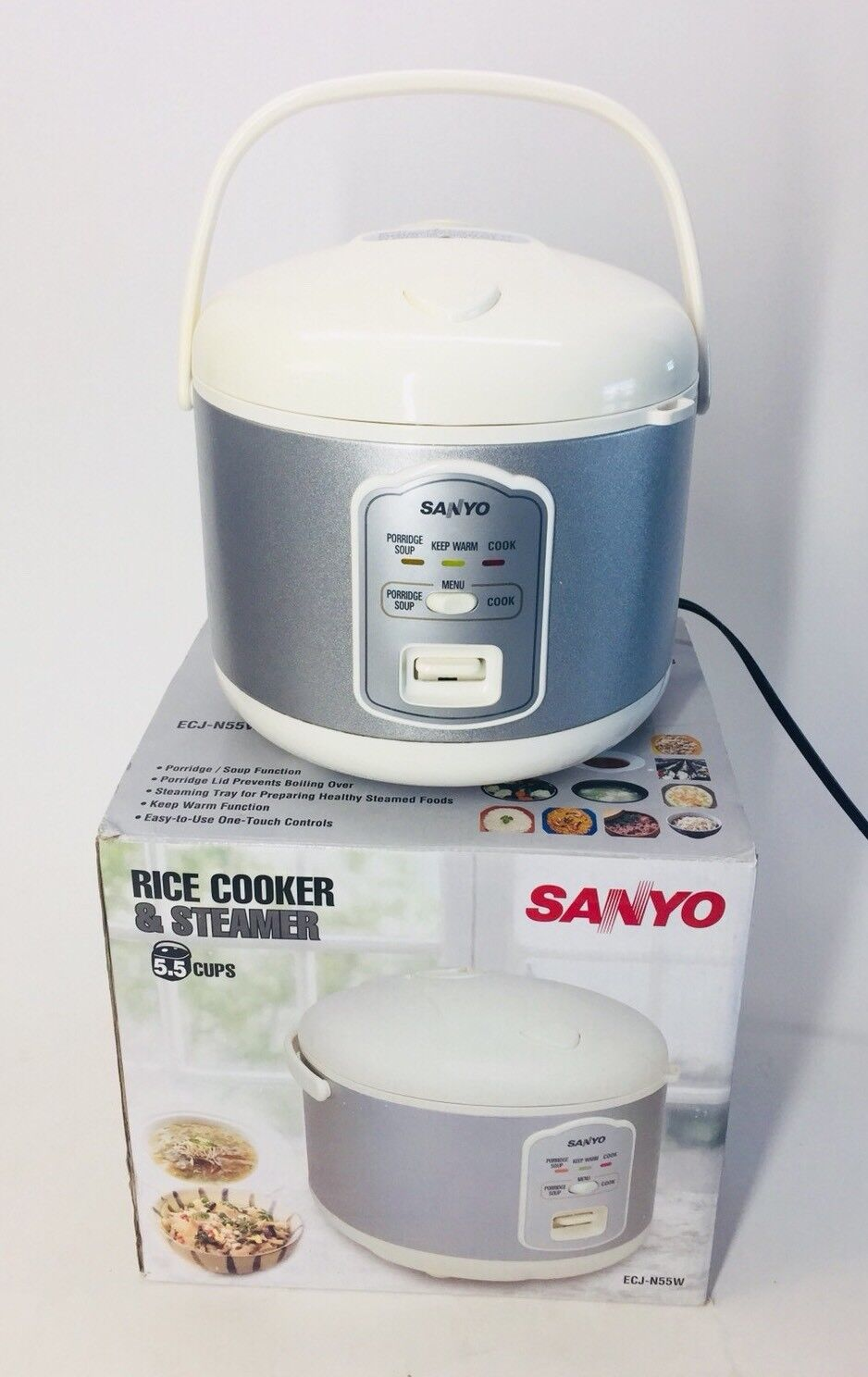 Sanyo ECJ-N55W 5.5-Cup Rice Cooker & Steamer w  Variable Temperature Control