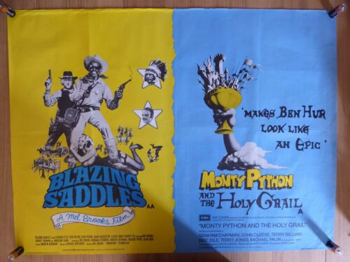 BLAZING SADDLES / MONTY PYTHON AND THE HOLY GRAIL - UK quad film/movie poster