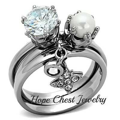 WOMEN'S SILVER TONE STAINLESS STEEL CZ & PEARL 3 STACKING RING SET SIZE 5 - 10