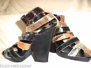 Penny-Loves-Kenny-Animal-Snake-Print-Heels-Sandals-Ankle-Strappy-Stacked-6-5-HOT