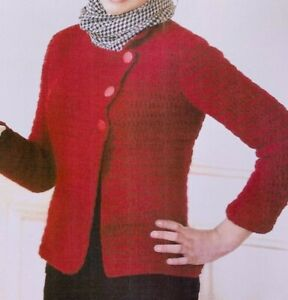 Ladies-Side-Buttoning-Jacket-Crochet-Pattern-Chest-32-42-034-Aran-BR513