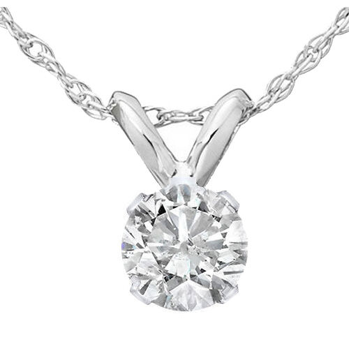 1/4ct Solitaire Diamond Pendant 14K White Gold