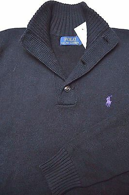 NWT Polo Ralph Lauren Men's 3-Button Mock Neck Black Cotton Sweater Sweat Size S