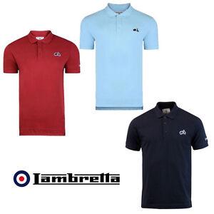 Lambretta-Polo-Scooter-Logo-Short-Sleeve-Polo-Shirt-Mens-3-colours