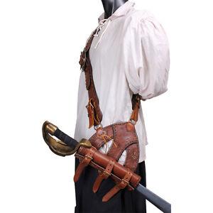 new brown leather pirate baldric belt larp theater
