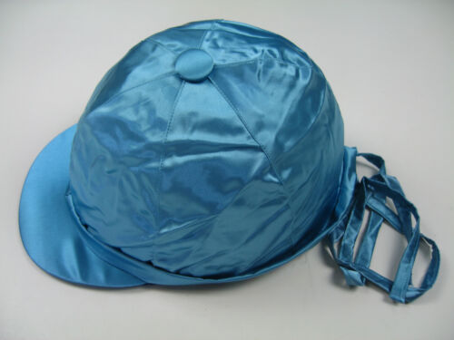 Helmüberzug Kappenüberzug Satin hellblau L mit Bändern Made in England