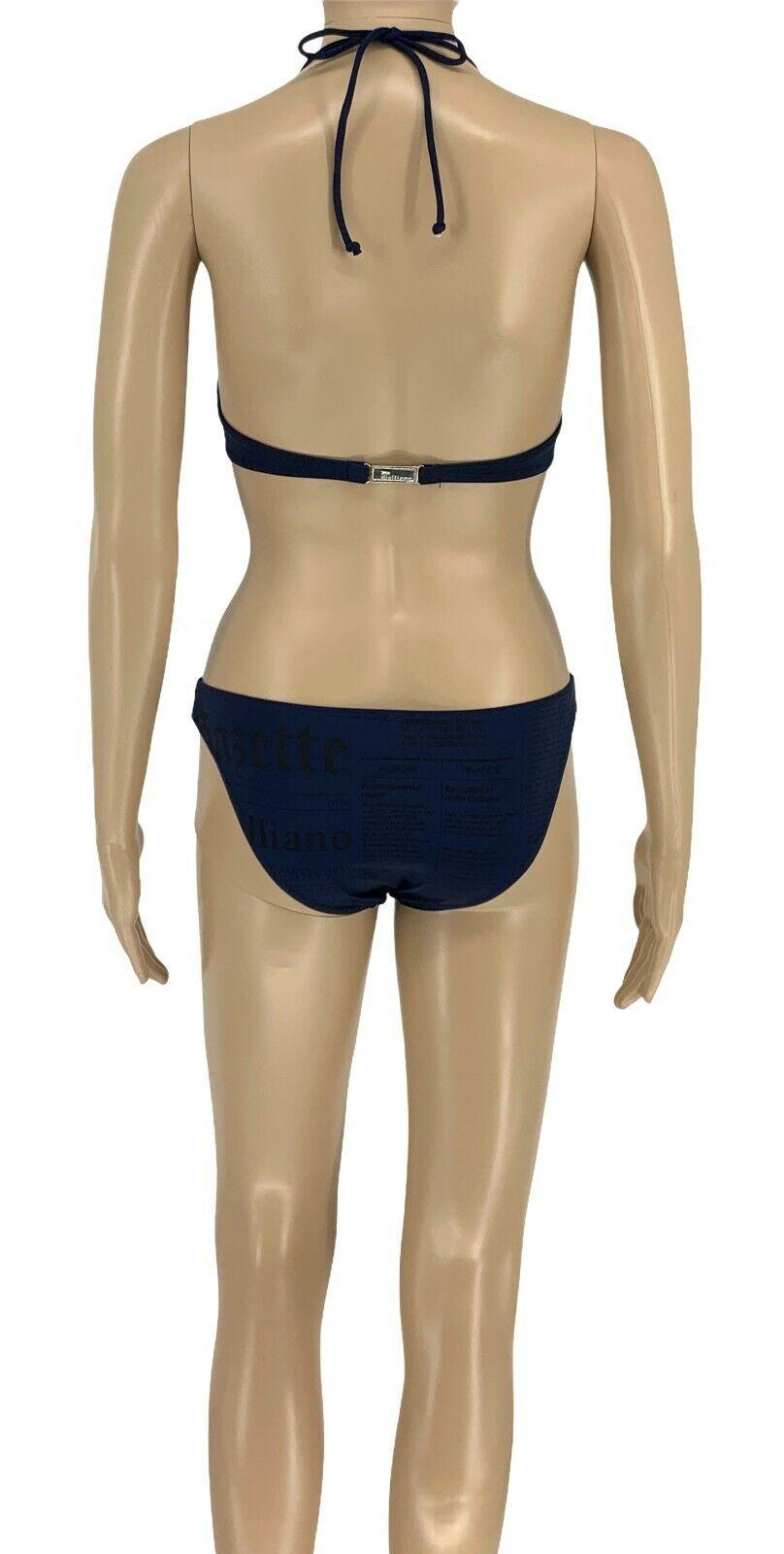 John Galliano Logo Zeitungen Bikini Bademode Separate #40 Nylon Dark Blau Rankab