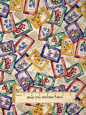 """Seed Packet Toss Fabric 100% Cotton By The Yard Robert Kaufman D#3052 58"""" Wide"""