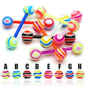 Zungen-Piercing-UV-Barbell-Flexibel-Wellen-Muster-viele-Farben