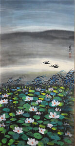 Excellent-Chinese-100-Hand-Painting-amp-Scroll-Lotus-amp-Birds-By-Lin-Fengmian