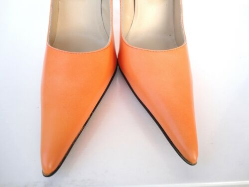 Giohel Italy Heels Pointy Toe New Pumps Schuhe Leather Decolte Arancio Orange 38