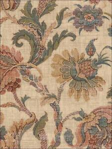 Wallpaper-Designer-Traditional-Jocobean-Floral-Multi-Color-Tapistry-on-Tan