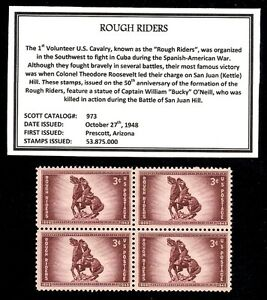 1948 - ROUGH RIDERS - Mint, Never Hinged, Block of Vintage Postage Stamps
