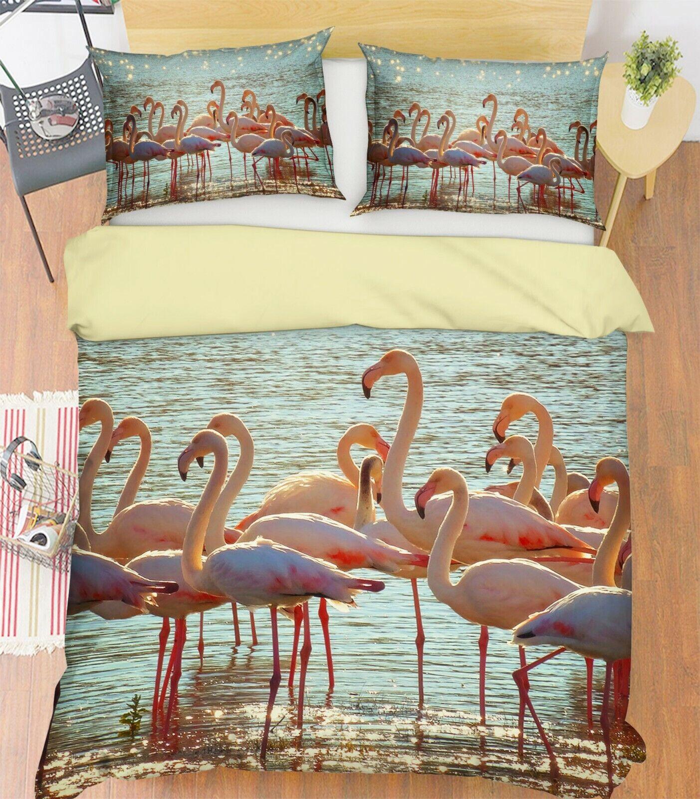 3D Flamingo Sun R83 Animal Bed Pillowcases Quilt Duvet Cover Queen King Zoe