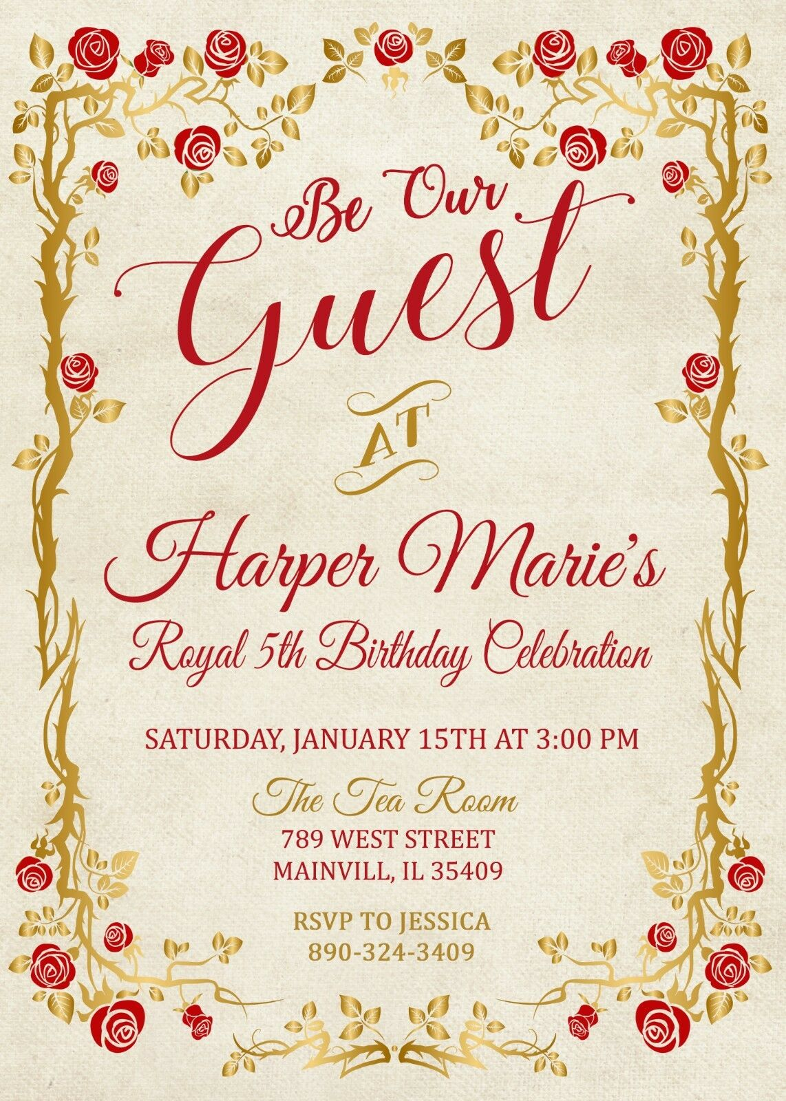 Princess Belle Invitation Beauty And The Beast Birthday