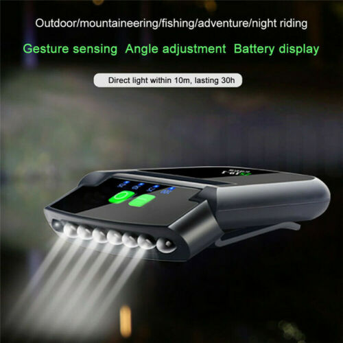Rechargeable USB DEL projecteur Clip-on Cap Hat Light Head Torch Fishing Camp Lampe