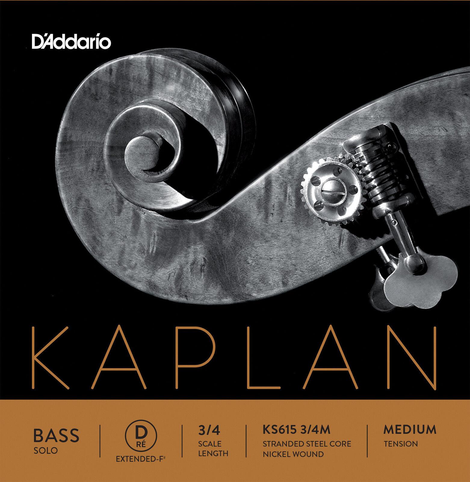 D'Addario Kaplan Solo Double Bass D-Ext String, 3 4 Scale, Medium Tension
