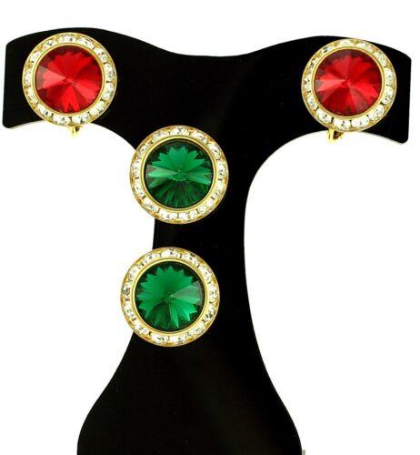 Red Green Christmas Rivoli Glass Stone Lot Rhinest