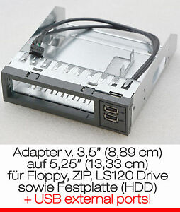 """Fsc Cadre Adaptateur De 3,5"""" (8,89cm) - & Gt 5,25"""" (13,33cm) Avec 2x Usb Adapteur Black-afficher Le Titre D'origine Xsxcbqbf-07180748-480001649"""