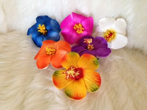 HAWAIIAN LUAU HULA HIBISCUS FOAM HAIR FLOWER HAIRCLIP FANCY DRESS ACCESSORY