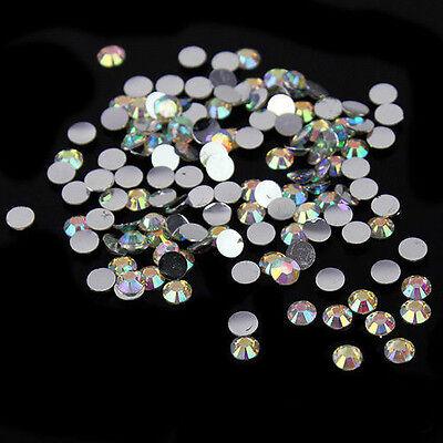1000Pcs Nail Art Crystal AB 14 Facets Resin Round Rhinestone Beads Flatback 4mm
