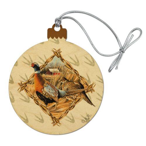 Pheasant Diamond Wood Christmas Tree Holiday Ornament