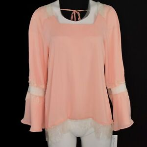 NY-Collection-Womens-Lace-Trimmed-Bell-Sleeve-Silky-Top-Size-Medium-Peach-NWT