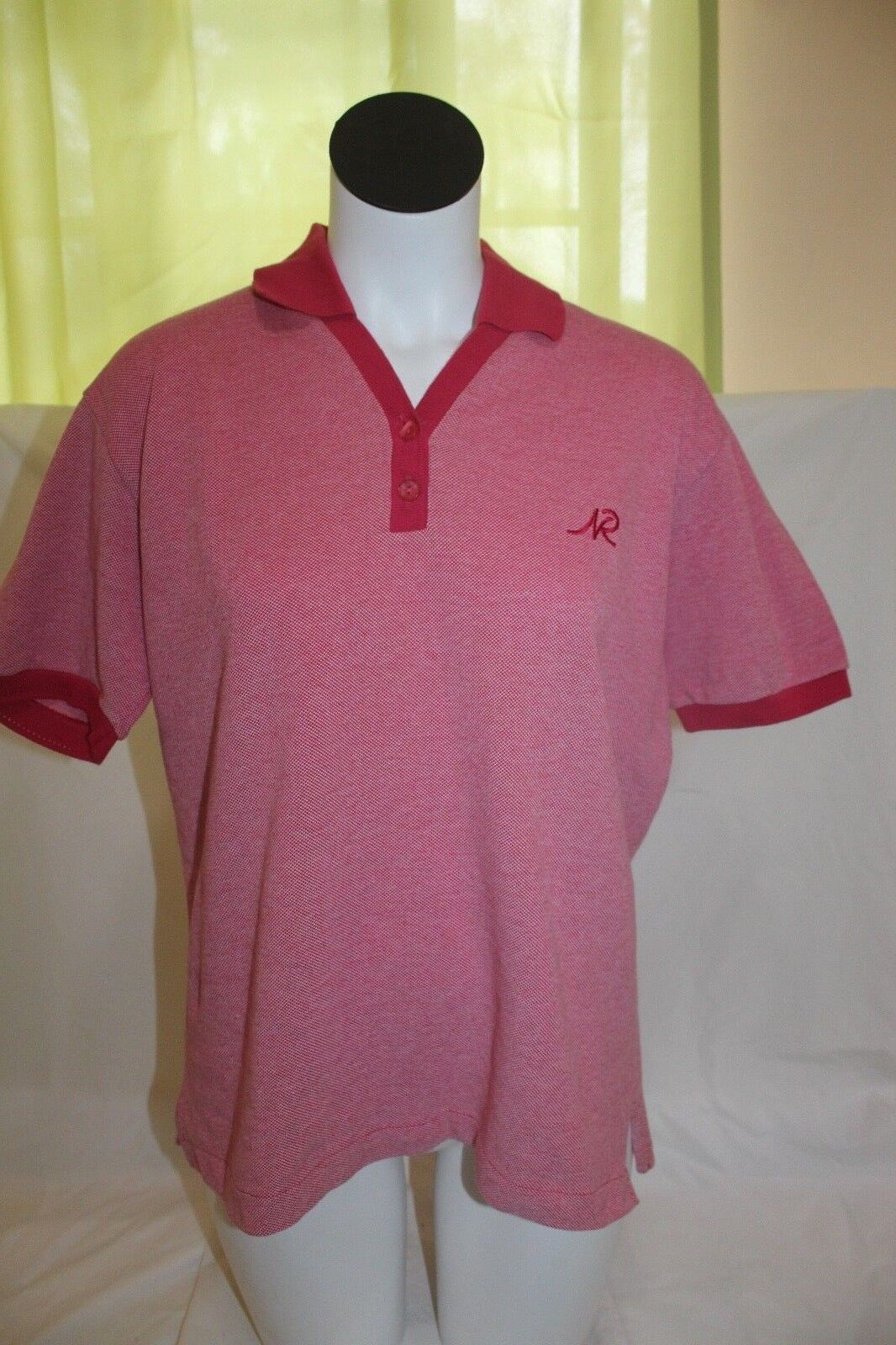 NWT Nina Ricci Knitwear Paris Women's Red Pink Polo Shirt Size Large