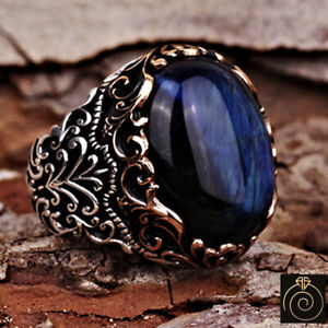 Antique Men Rings Cool Rings for Men Stone Vintage Ring Blue Tigers Eye Ring Sterling Silver Ring Unique Gifts for Men