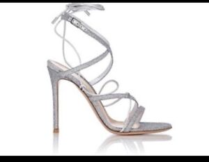 567b9ce282d Details about Gianvito Rossi Shoe Silver Glittery Gladiator Style High  Sandals Size 40 NEW