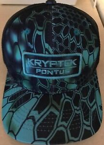 4b7c03fb068 Kryptek Pontus Black Mesh Back Hunting Fishing Hat Trucker Camo Hat ...