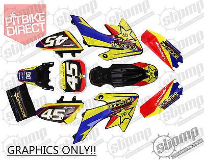 Factory Rockstar CRF50 Graphics Kit Pit Bike Stomp Yellow NEW DESIGN!
